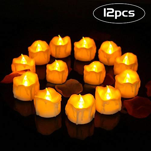 Vivibel LED Teelichter Flackernd, 12pcs LED Flammenlose Teelichter mit Batterien, LED Teelicht Kerzen mit Flackereffekt Dekoration für Weihnachten, Halloween, Ostern, Party, Bar, Hochzeit - Warm weiß
