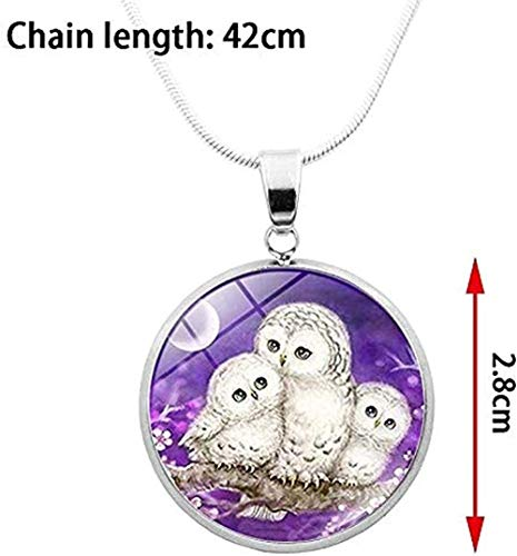 ZPPYMXGZ Co.,ltd Necklace Fashion 2019 Trending Silver Choker Necklace Sweet Owl Family P O Cabochon Glass Pendant Stainless Steel Chain Necklace Women