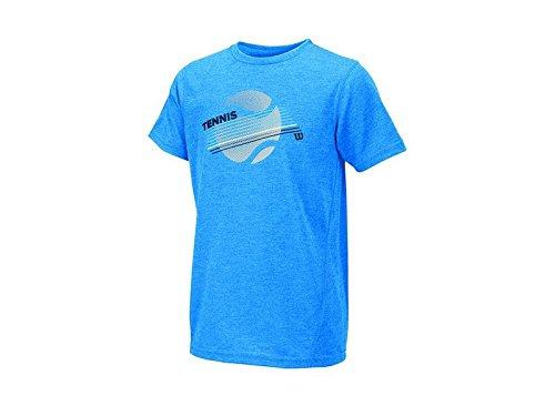 Wilson Kids B Tennis Stripe Tech T-Shirt-Neptune Heather, Mediu