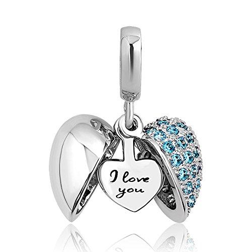 Uniqueen Blue Rhinestone I Love You Heart Charms Dangle Bead For Bracelet