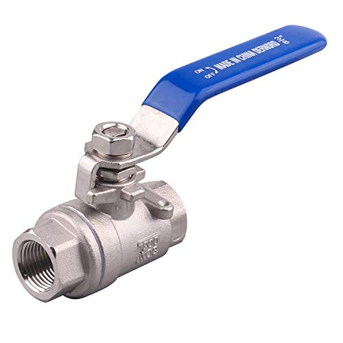 DERNORD Full Port Ball Valve Stainless Steel 304 Heavy Duty for Water, Oil, and Gas with Blue Locking Handles (3/8 NPT)