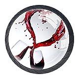 Le maniglie dei cassetti tirano il vetro di cristallo rotondo Manopole dell'armadio Maniglia dell'armadio da cucina,bicchieri di vino rosso cuori plash