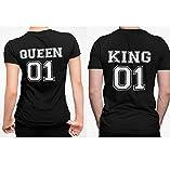 Camisetas pareja regalo San Valentín Queen King personalizada