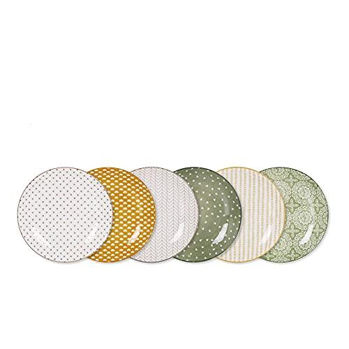 D20 - Juego de 6 platos llanos (20 cm), colores