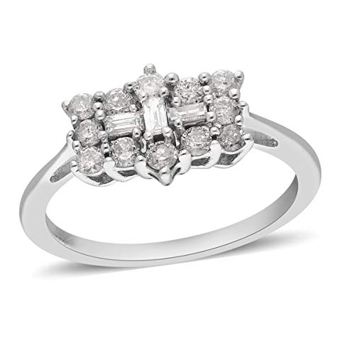 TJC White Diamond I3/G-H Boat Ring for Women Gift for Wife/Girl Friend/Mother in 9ct White Gold SGL Certified Size Q, TCW 1.05ct.