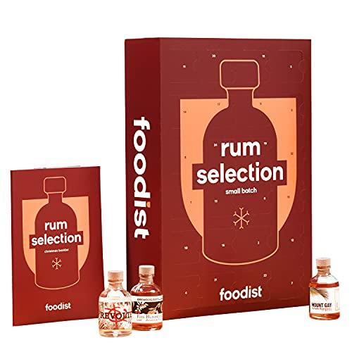 Foodist Rum Adventskalender 2021 - 24 x 50ml Miniaturfläschen aus der ganzen Welt, Probier- und Geschenkset inkl. Cocktailrezepten und Tasting-Guide für erwachsene Rum-Liebhaber