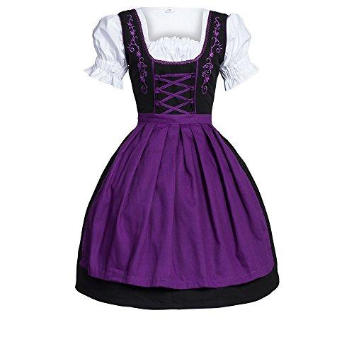 Bongossi-Trade Dirndl 3 TLG.Trachtenkleid Kleid, Bluse, Schürze, Gr. 34 schwarz violett