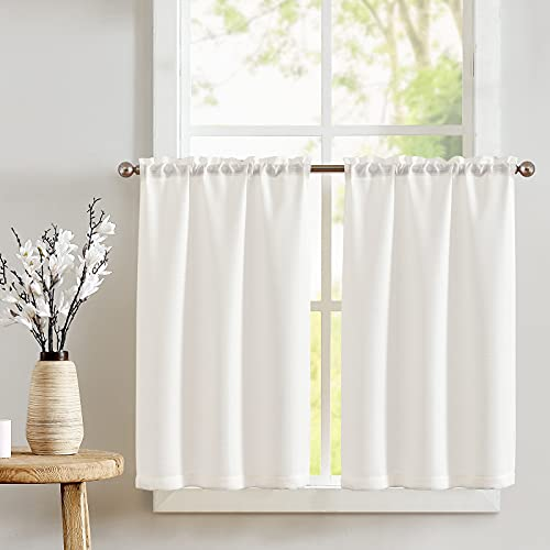 JINCHAN White Kitchen Curtains 24 Inch Tier Curtains for Living Room Linen Textured Cafe Curtains for Bathroom Farmhouse Country Light Filtering Short Window Curtain Set Rod Pocket 2 Panels