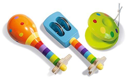 Eichhorn 100003484 Musik Set enthält Rassel, Maracas und Kastagnette, Bunte Musikinstrumente aus Holz, 3 teilig, ab einem Jahr