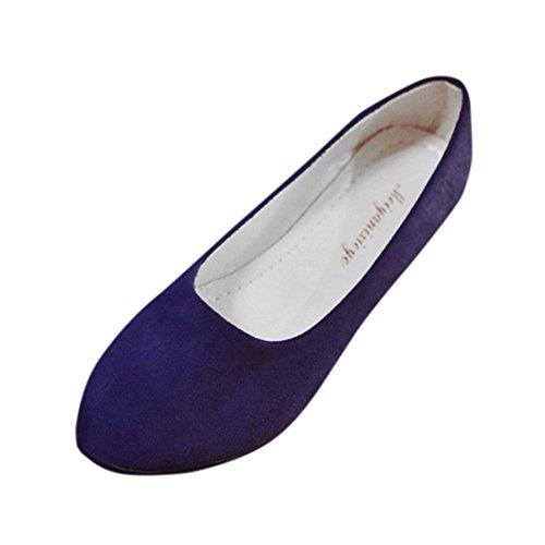 FNKDOR Damen Geschlossene Ballerinas Klassische Flache Elegant Schuhe(40.5,Blau)