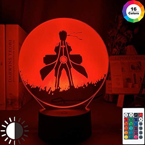 3D Optical Kids Night Light Naruto Uzumaki Poster for Bedroom Decor Nightlight Best Birthday Gift Naruto Night Lamp Bedside 7 Colors no Remote