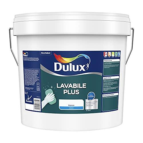 Dulux Lavabile Plus Pittura all Acqua per Interni Lavabile per Tutti Gli Ambienti, 10 Litri, Bianco