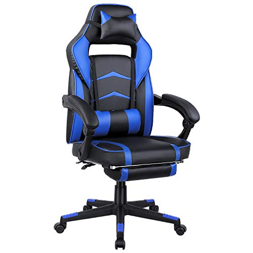 FIXKIT Gaming Stuhl Bürostuhl Schreibtischstuhl mit Faltbarer Fußstütze, Armlehne, Kopfkissen, Ergonomischer Höhenverstellbarer PC Stuhl Gamer Stuhl Drehstuhl Chefsessel Racing Stuhl, Blau
