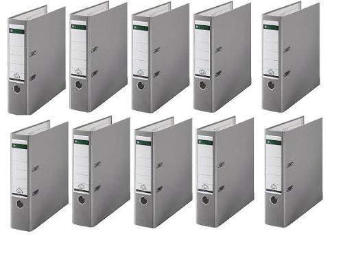 10 LEITZ Ordner 180° 1010-50-85 Grau Kunststoff 8cm Plastik PP Aktenordner 80mm DIN A4 Büro mit Schlitzen