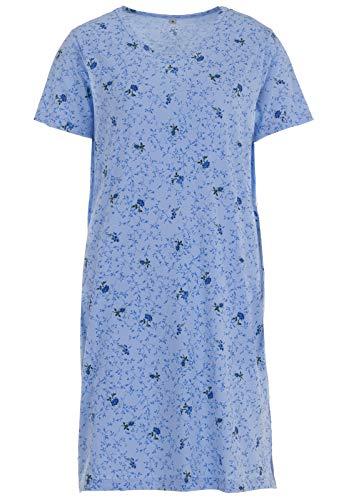 Zeitlos Nachthemd Kurzarm Rosen Blumen V-Ausschnitt Schlafshirt, Farbe:blau, Größe:L