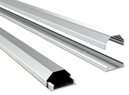 RICOO Z0100-S, Kabelkanal, Silber, Länge 110 cm, Alu, Kabelklemme, Kabelschlauch, Kabelbox, Kabelführung, Kabel-Management für Fussboden und Wand