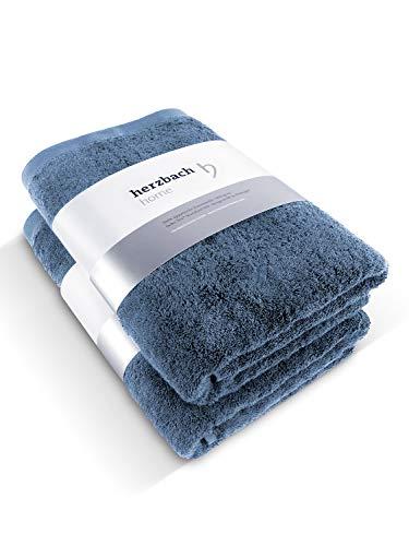 herzbach home Juego de 2 toallas de sauna de lujo, calidad prémium, 100% algodón egipcio, 86 x 200 cm, 600 g/m² (gris azul)
