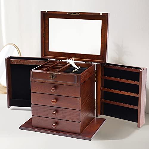 Joyero de madera con 5 capas, con espejo y candado, para joyas, collares, pendientes, relojes (marrón)