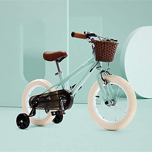 YWJPJ. Bicicleta de 4 Ruedas para niños con Cesta, Bicicleta para niños de 14 Pulgadas con Ruedas de Entrenamiento, Asiento Ajustable y protección de Cadena Cerrada Durante 3-6 años