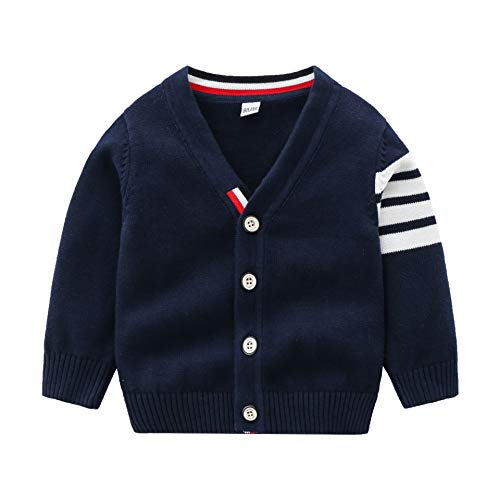 Baby Boy Sweater Knit Cardigan Toddler Button-up Pullover Outerwear,Navy,18-24M