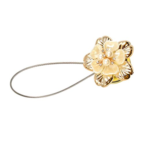 Amuzocity Elegant Curtain Tiebacks With Floral Pattern, Voile Tiebacks With - Golden, as described
