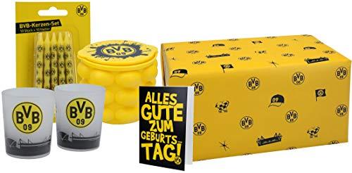 VonBueren Dortmund Fanartikel Geschenkset Geburtstag, 4-TLG. mit Kerzen, Teelichthalter, Eiswürfelbereiter und Geburtstagskarte - fertig verpackt