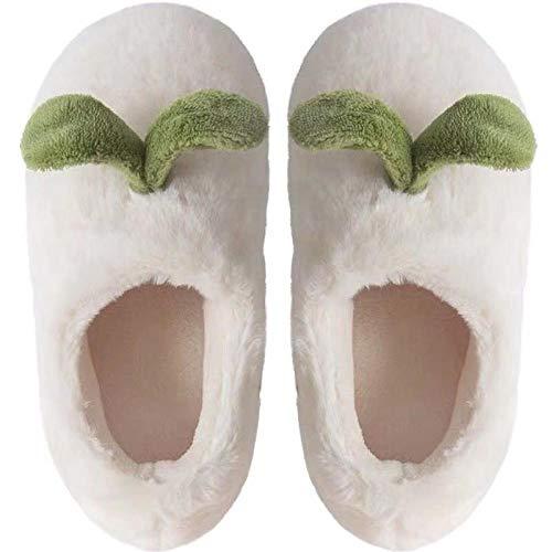 Zapatillas de casa de invierno de felpa de algodón para hombres y mujeres de gran tamaño antideslizante Forro de felpa Antideslizante Suela de goma antideslizante en los zapatos-38-39_Retoño blanco