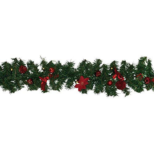 Verlichte decoratieve slinger kerstkrans voor binnen en buiten gebruik LED-buitenkrans met kerstversiering / 20 warmwitte leds / 250 cm lengte