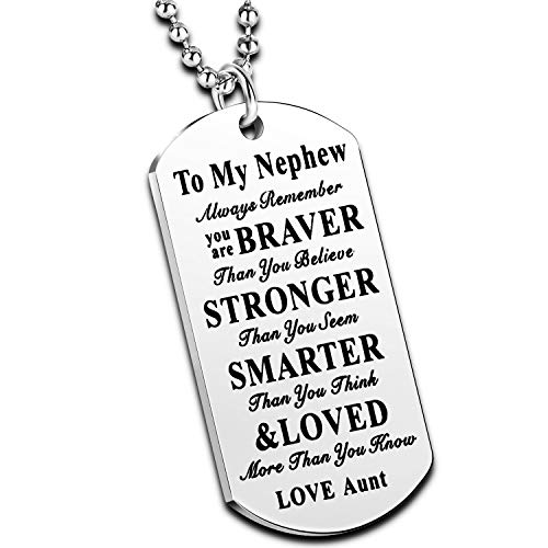 to My Niece Nephew Inspirational Gift Jewelry Dog Tag Pendant Necklace from Aunt Uncle Nephew Necklace Niece Necklace (Aunt to Nephew Always Remember)