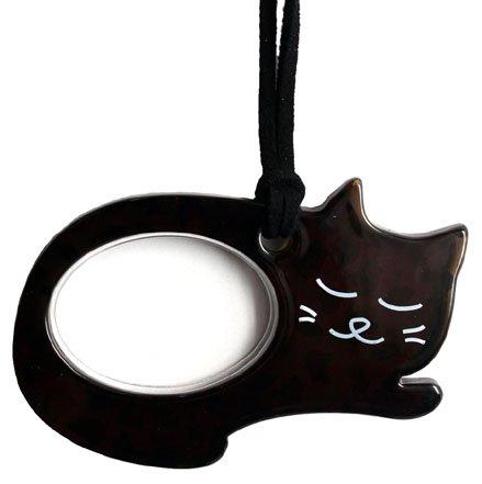Lente(レンテ)PR-014-1・ペンダントルーペ 寝ニャン かわいい猫型ルーペ 母の日・敬老の日・お誕生日などのおしゃれなプレゼントにも! (ネコブラック)