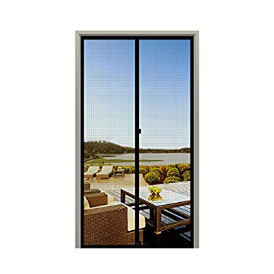 "MAGZO Screen Door Magnets 32 x 80, Durable Fiberglass Door Mesh with Full Frame Hook&Loop for Patio Door Fits Door Size up to 32""x80"" Max-Black"