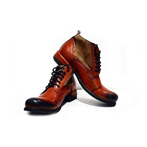 PeppeShoes Modello Genua - EU 45 - US 12 - UK 11-30 cm - Handgemachtes Italienisch Bunte Herrenschuhe Lederschuhe Herren Orange Stiefel Stiefeletten - Rindsleder Handgemalte Leder - Schnüren