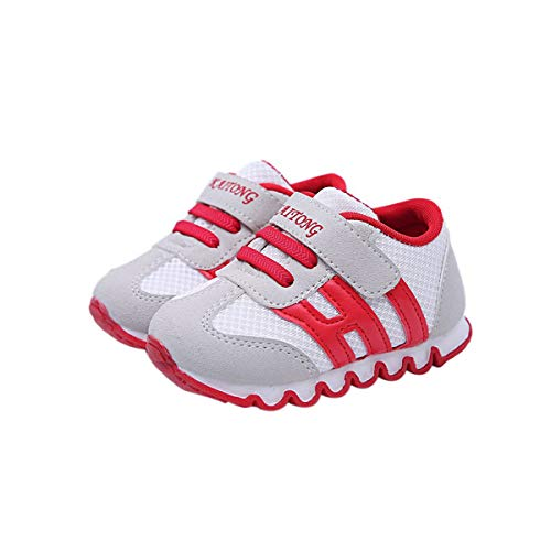DEBAIJIA Zapatos para Niños 0-3T Bebés Caminata Niños Niñas Suela Suave Lona Antideslizantes TPR Material 23/24 EU Rojo (Tamaño Etiqueta 24)