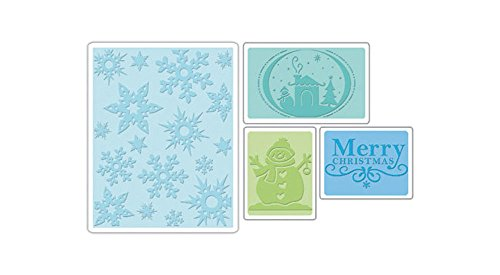 Sizzix - Carpetas de Estampado con Textura, 4 Unidades, Juego de Navidad por Rachael Bright & E.L. Smith