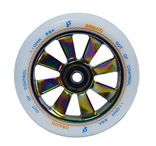TTSJSM Ruedas De Scooter Ruedas de la Scooter de la aleación de 110mm con Ruedas de Arco Iris de Alta Elasticidad de la Elasticidad con 2pcs Ruedas Scooter (Color : White PU)