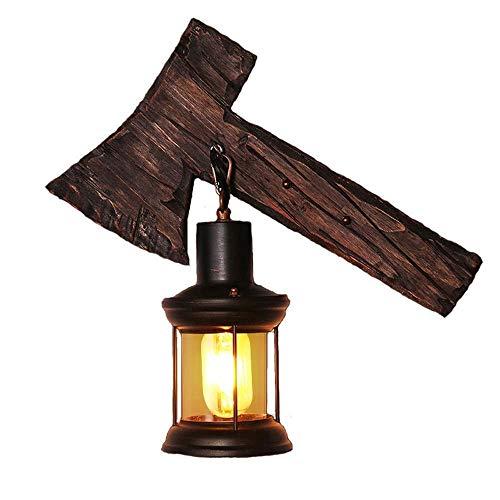 Chuen Lung Vintage Industrie Wandleuchten Loft Holz Retro Kreative Axt Design, für Restaurant, Gang, Flur, Eingang, Bar, Café, Schlafzimmer Nachtwandleuchte (größe : 40 * 33CM)