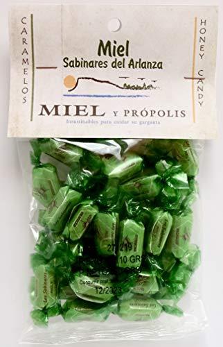 Caramelos de miel y propóleo. Bolsa de 100 gr. Sin aromas, conservantes ni colorantes artificiales. Sin gluten.