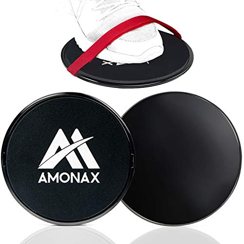 Amonax Core Sliders, Double Sided Gliding Discs with Straps. Ab Gliders for Core Exercise Fitness at Gym & Home, Dual Side Slider Strength Glider Pairs for Carpet, Wood, Tiled Floor