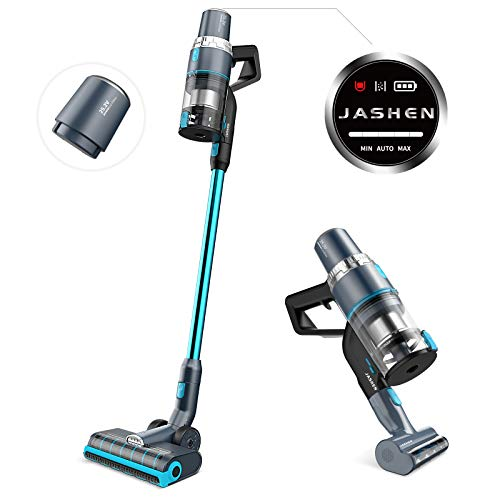 JASHEN smarter Akku Staubsauger mit Ersatzbatterie, 350W digitaler bürstenloser Motor, smarte Saugfunktion, 25.2V Li-Ionen-Akku, abnehmbar, smart-LED-Frontlichter, 4in1 kabelloser Staubsauger