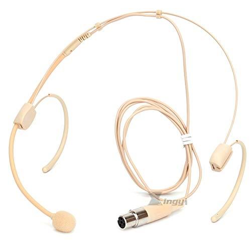 Beige Mini XLR 4 Pin TA4F hoofdtelefoon microfoon met microfoon dubbele haak oorbeugel microfoon voor Shure Wireless System