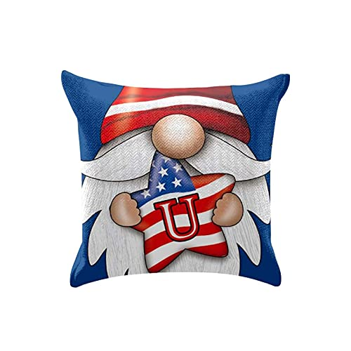 4th of July Pillow Covers 18x18, Set of 4 Memorial Day American Flag Gnomes Patriotic Throw Pillow Covers Red Rose Wreath Pillows Case Independence Day Decor for Home Sofa (Blue)
