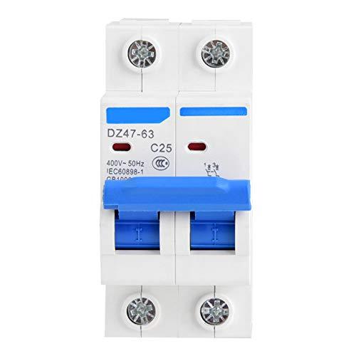 Disyuntor Aramox, DZ47-63 2P Disyuntor en miniatura Protección contra fugas Interruptor de aire Plástico 400VAC(25A)