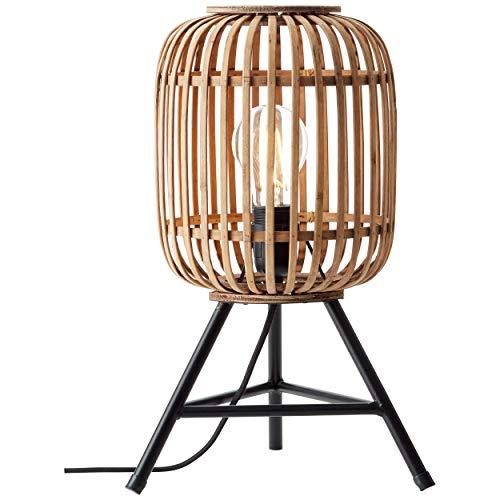 Lámpara de mesa 1 x E27 máx. 40 W, metal y ratán, color marrón claro.
