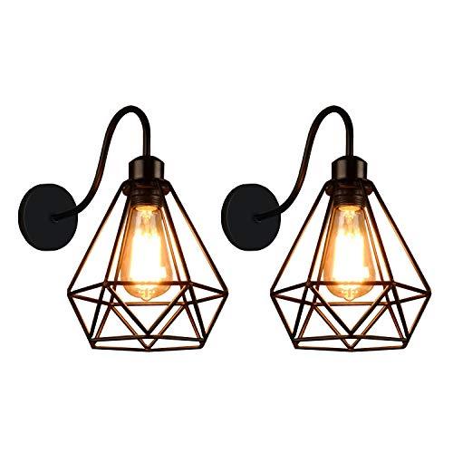 iDEGU Applique Murale Industrielle, Lot de 2 Lampe Murale Vintage Design Rétro Abat-jour Lumière Cage en Métal 20cm, Noir