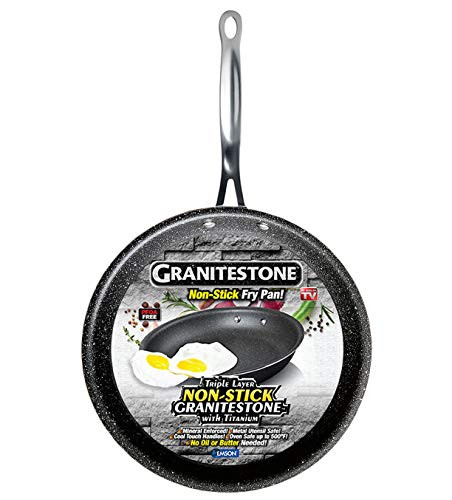 "GRANITESTONE 2591 Non-stick, No-warp, Mineral-enforced Frying Pans With""Stay-Cool"" Handles PFOA-Free As Seen On TV (8-inch)"