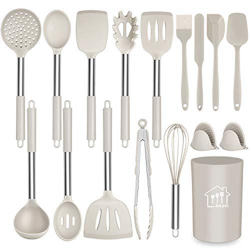 AILUKI 17 Stück Silikon Kochgeschirr Set, Küchengerät Küchenhelfer Set mit Edelstahlgriff, Antihaft Hitzebeständiger Silikonspatel Set, Küchenutensilien mit Edelstahlgriff Khaki
