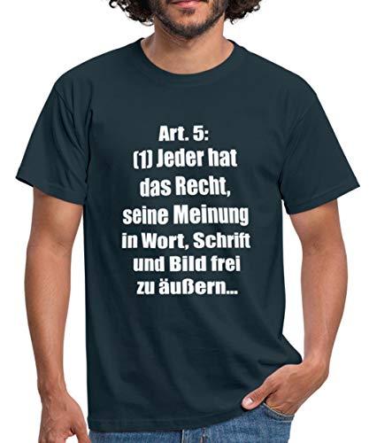 Artikel 5 Grundgesetz - Meinungsfreiheit BRD Verfassung Männer T-Shirt, XL, Navy