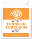 Pets Purest 100% Naturale 10'000mg Premium Curcuma per i Cani con Active Bioperine Gatti, Cavalli e Animali Potente integratore antiossidante per Giunti & Hips 60 Capsule