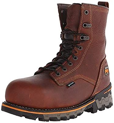 Timberland PRO Men's 8 Inch Boondock Composite Toe Waterproof Work and Hunt Boot, Brown Tumbled Leather, 9.5 W US