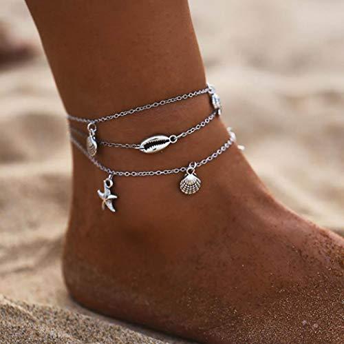 Edary Boho Joyería Concha de Plata Capas estrellas de mar para el tobillo pulsera de tobillo del pie de playa para mujeres y niñas